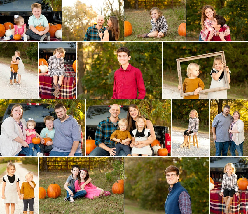 Family photographer in Columbia Missouri with bright fall colors and pumpkins.